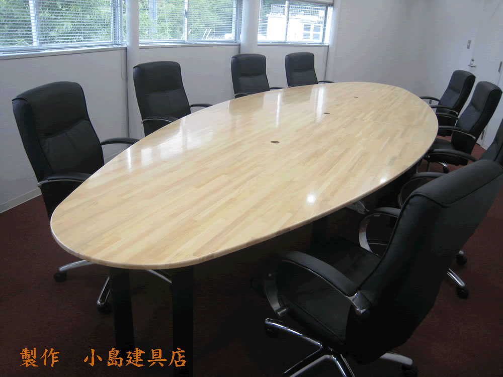 ヒノキ集成材楕円テーブル